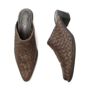 Vintage Brown Woven Leather Pointed Toe Mules
